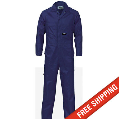 DNC workwear Mens Poly Cotton Coverall Safety Tradie Mechanic - Navy