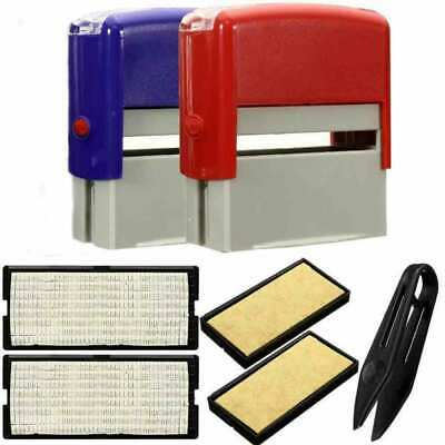 Custom Personalised Self Inking Rubber Stamp Kit Business Name Address DIY  OD