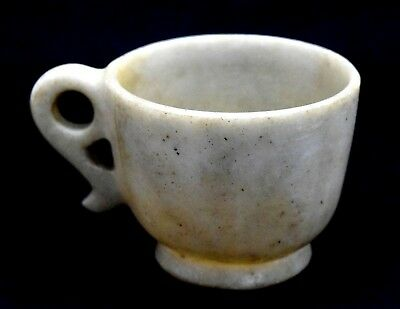 1850 Vintage Hand Carved Antique Stone Cup Indian Old Rare collectible.G38-27 AU