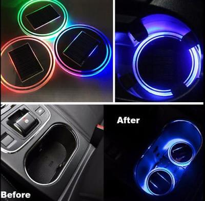 2PC Solar Cup Pad Car accessories LED Light Cover Interior Decoration Lights