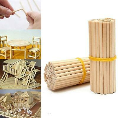 100Pcs Wooden Round Popsicle Stick Kids Hand Crafts Art Ice Cream Lolly Cake