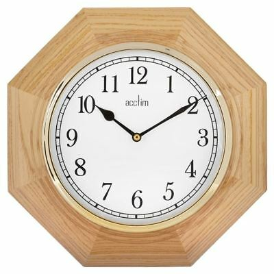 Acctim Richmond Octagonal Wooden Quartz Wall Clock Battery Operated - Oak
