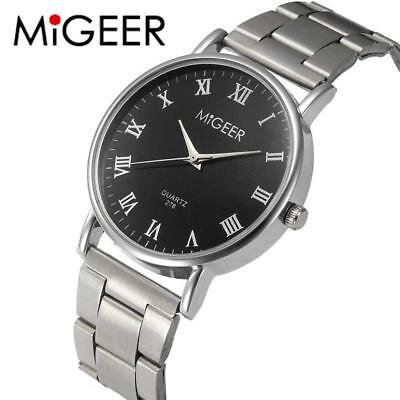 MIGEER Fashion Men Wrist Watch Crystal Stainless Steel Quartz Watch