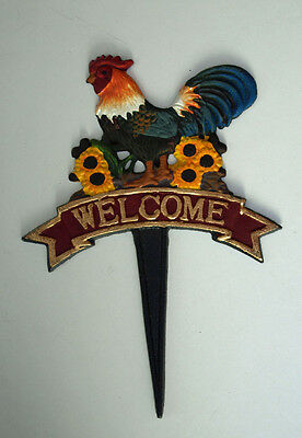 Welcome Chicken Rooster Garden Sign Cast Iron Plaque Cockerel Spike 24cm New