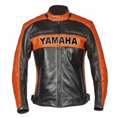 Yamaha Black Motorcycle Biker Moto GP Top Rider Leather Jacket For Men