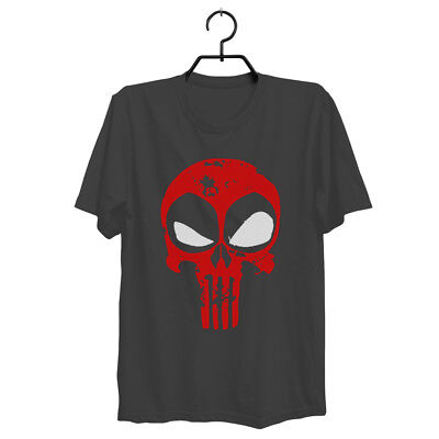 Deadpool T-Shirt Distressed Punisher Skull Crossover Logo Workout Free Shipping