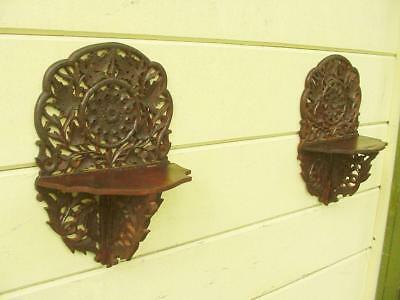 Antique Pair Victorian Carved Walnut Folding Wall Clock Shelf ~ Highly Detailed