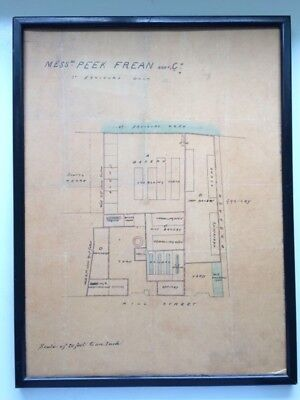 1859 HAND DRAWN ARCHITECTURAL PLANS Peek Frean Biscuit Factory - Victorian