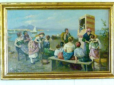 ANTIQUE Italian SCOGNAMIGLIO Oil Painting PUNCH & JUDY SHOW Naples Italy