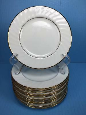 "Set of 13 CASCADE GOLD by TOWLE Fine Bone China White Dessert 6.25"" Plates"