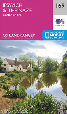 IPSWICH & THE NAZE LANDRANGER MAP 169 - Ordnance Survey - OS NEW 2016 + DOWNLOAD
