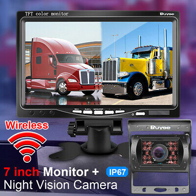 "WIRELESS CAR REAR VIEW KIT for Bus 7"" LCD MONITOR + IR REVERSING CAMERA 18LED UK"