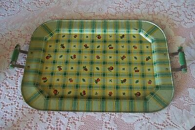 Vintage Plaid Gingham Metal Tin 1930's 40's Tray wood Handles Fruit Motifs