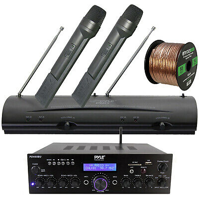 Wireless Bluetooth Receiver, Microphone System, Speaker Wire - PA, Karaoke, DJ