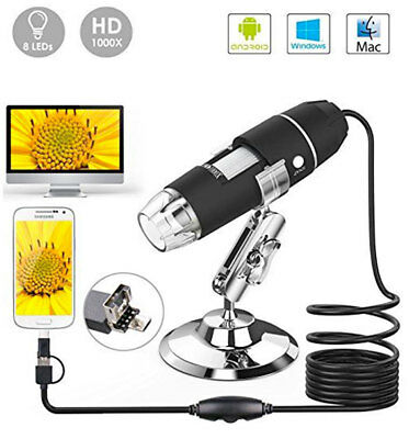 Microscopio Usb Digitale 1000X Pc Notebook Foto Video 8Led 2.0 Mpx Staffa 3 In 1