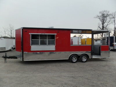 Concession Trailer 8.5' x 24' Red BBQ Event Vending Catering
