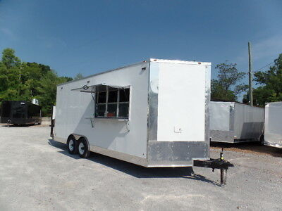 White 8.5x20 Pizza Concession Trailer
