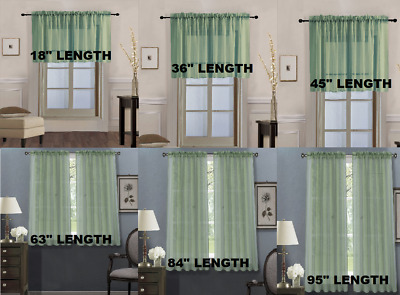 1 SET Sage Green SOLID VERSATIL ROD POCKET WINDOW CURTAIN VOILE SHEER PANELS