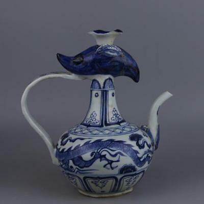"""9"""" Collect Old China Blue White Porcelain Beast Head Teapot Kettle Flagon Pot"""