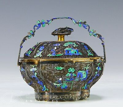 Rare Antique Chinese Export Silver Covered Box With Applied Enameled Design