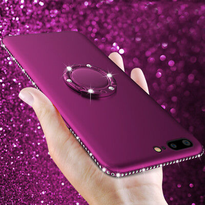 Luxury Bling Diamond Ring Holder Stand Soft TPU Case Cover for iPhone X 8 7 6 6s