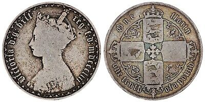 1853 Victoria florin silver coin of Great Britain
