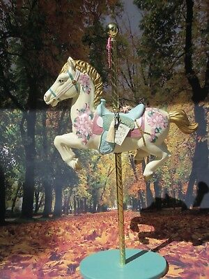 Vtg Brass Ring Collection Numbered Carousel Horse Hand Painted On Brass Pole #b