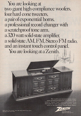 1969 Zenith Natural Sound Stereo: Two Giant High Compliance Vintage Print Ad