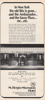 1969 St Regis Sheraton: In New York the Old Ritz Is Gone Vintage Print Ad