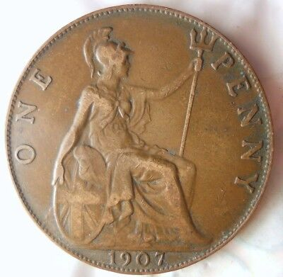 1907 GREAT BRITAIN PENNY - Excellent Collectible - FREE SHIP - Britain Bin J