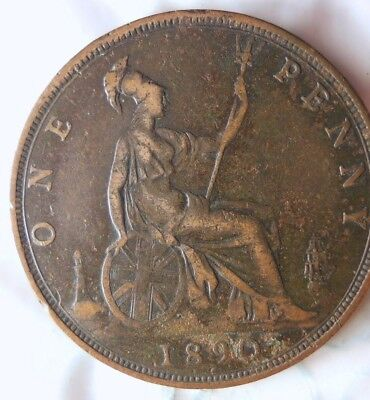 1890 GREAT BRITAIN PENNY - Excellent Collectible - FREE SHIP - Britain Bin J