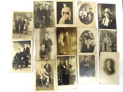 Qty 14 Vintage RPPC Real Photo Postcard Portraits circa 1910s+ Real People