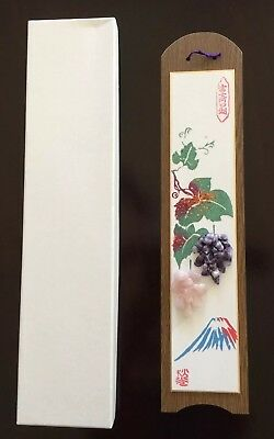 Collectible Japanese Asian Art Hand Made Inlaid Gemstones Wall Plaque Beautiful