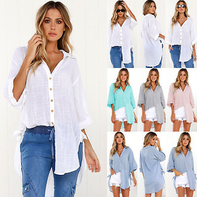 UK Womens Long Sleeve Button V-neck Tops Blouse Ladies Baggy T Shirts Plus Size