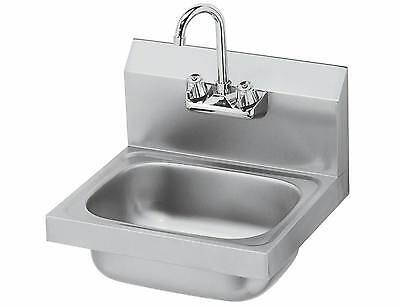 """Stainless Steel Wall Mount Hand Sink w/ Faucet 14""""x10""""x5"""" -NSF-NEW"""