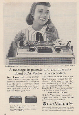 1957 RCA Tape Recorders: A Message to Parents and Grandparents Vintage Print Ad