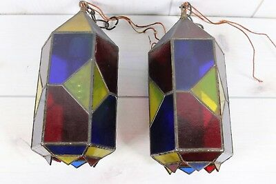 Pair Vintage Stained Glass Light Fixture Pendant Blue Red Yellow Bar For Repair