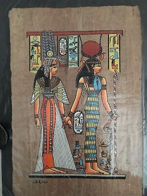 High quality genuine Hand Painted Egyptian Papyrus Queen Nefertary led by Isis