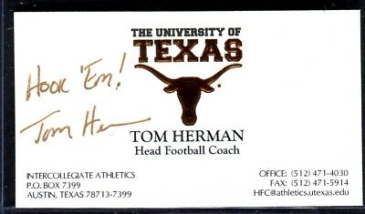 Tom herman autographed business card with coa texas longhorns signed business card tom herman head football coach u texas reheart Image collections