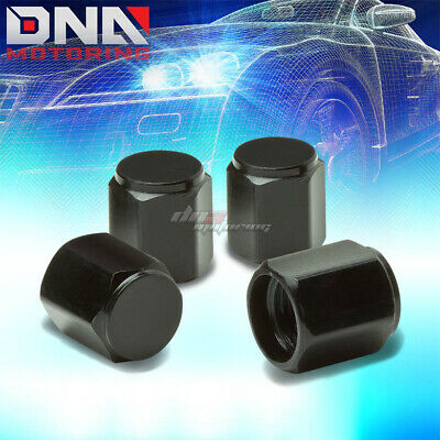 4 X Aluminum  Black High Strength Tire/Rim Valve Air Port Dust Cover Stem Cap