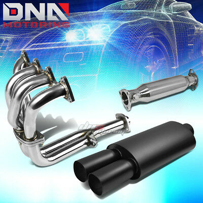 """RACING HEADER+PIPE+3/""""DUAL SQUARE TIP CHROME MUFFLER EXHAUST FOR 88-00 CIVIC D16"""