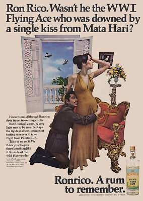 1968 Ronrico: WWI Flying Ace Who Was Downed, Mata Hari Vintage Print Ad