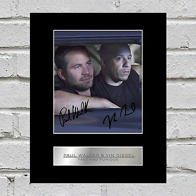 Paul Walker and Vin Diesel Signed Mounted Photo Display Fast and Furious