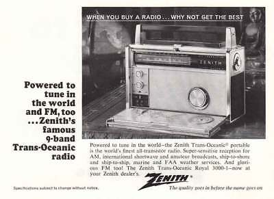 1967 Zenith Trans-Oceanic Portable Radio: 9 Band, FM Vintage Print Ad