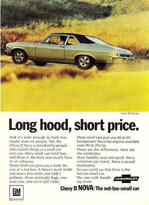 1968 Chevrolet Nova SS Coupe: Long Hood Short Price Vintage Print Ad