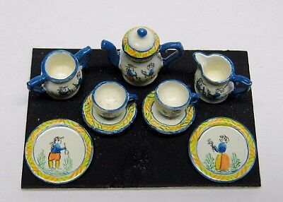 Dollhouse Miniature Hand Painted Quimper Tea Set  from England
