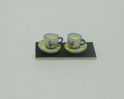 Dollhouse Miniature Hand Painted Quimper Cup and Saucer set from England
