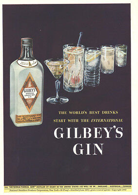1942 Gilbeys Gin: Worlds Best Drinks Vintage Print Ad