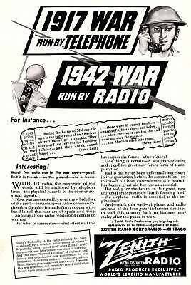 1942 Zenith: 1942 War Run by Radio Vintage Print Ad