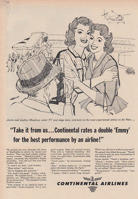 1960 Continental Airlines: Jayne and Audrey Meadows, Emmy Vintage Print Ad